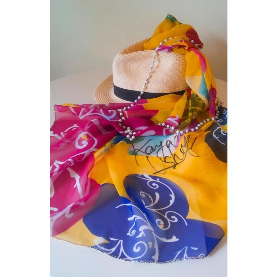 KAYANO USHIYAMA Ballettコラボ第3弾 Easter 大判シフォンスカーフ 正方形 90×90cm ご家庭で洗濯可 日本製|ballett|08
