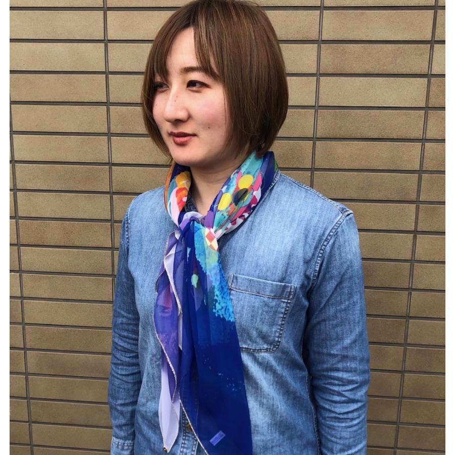 KAYANO USHIYAMA Ballettコラボ第2弾 Happy Hedgehog 大判シフォンスカーフ 正方形 90×90cm ご家庭で洗濯可 日本製|ballett