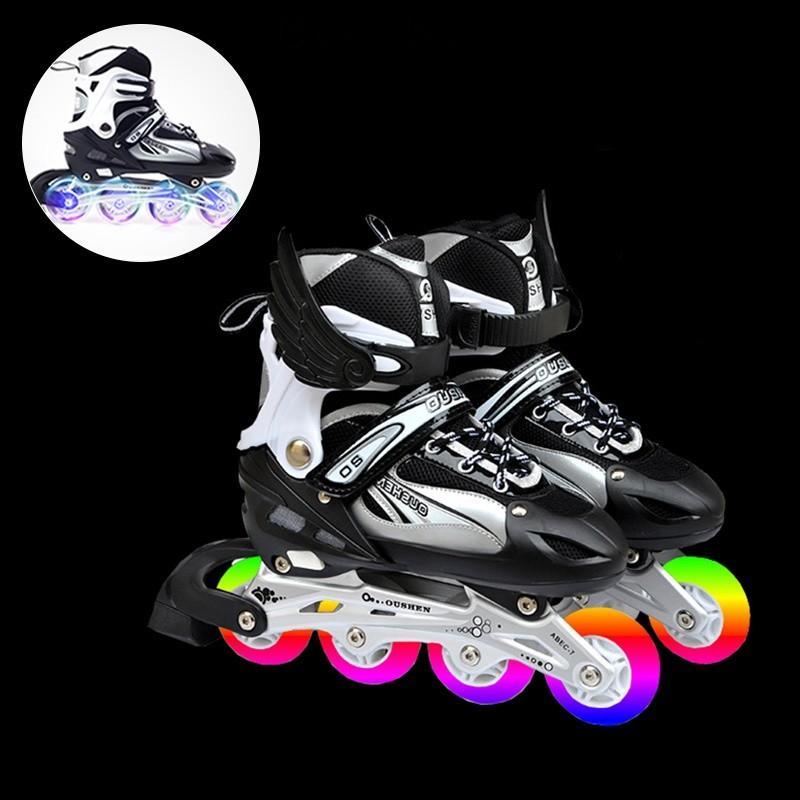 インラインスケート本体 ローラーブレード セット付き 子供/ジュニア用 ウィールが光る ローラースケート