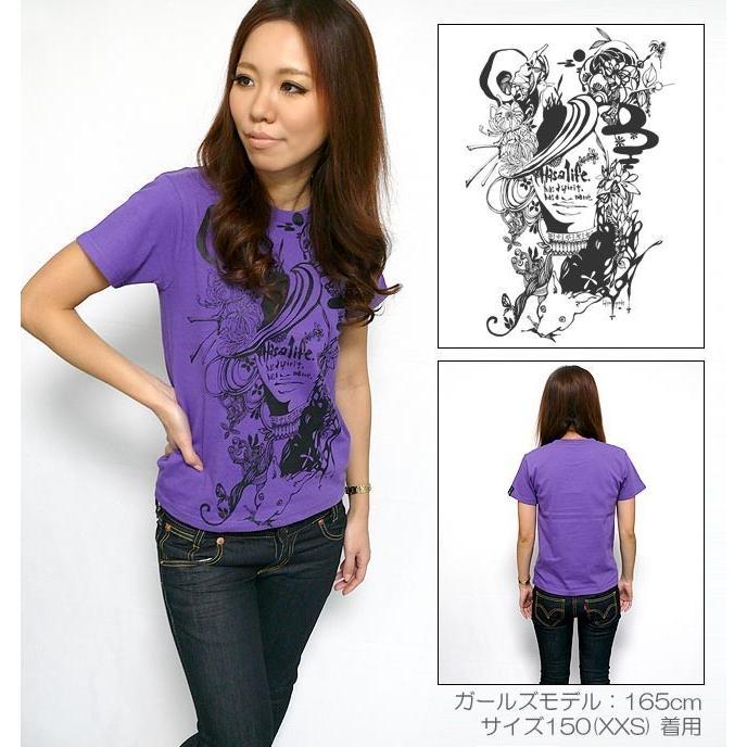 小悪魔ガール Tシャツ -G- 半袖 メンズ レディース イラスト プリント かわいい カジュアル アメカジ ホワイト パープル 白 紫 bambi 02