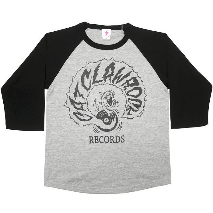 CAT CLAW ROCK(キャット クロー ロック)ラグランスリーブ (ミックスグレー×ブラック袖) -G- ネコ 猫 レコード アメカジ 7分袖 七分袖 bambi