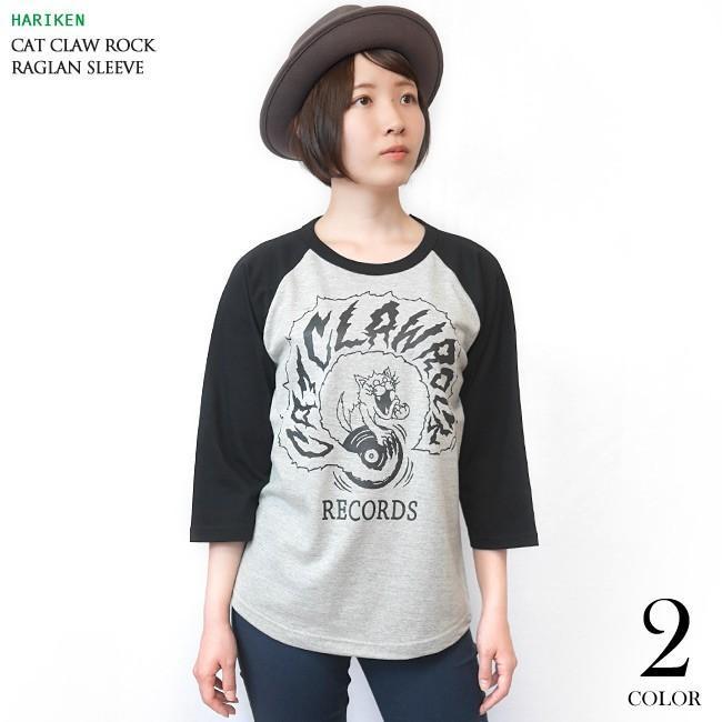 CAT CLAW ROCK(キャット クロー ロック)ラグランスリーブ (ミックスグレー×ブラック袖) -G- ネコ 猫 レコード アメカジ 7分袖 七分袖 bambi 04