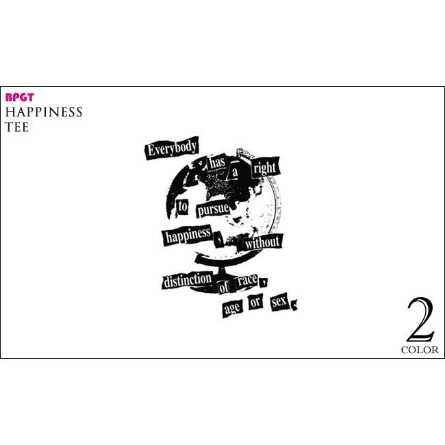 Happiness(ハピネス)Tシャツ (ホワイト)-G- 半袖 白色 地球儀 パンクロックTee カジュアル アメカジ メッセージ|bambi|05