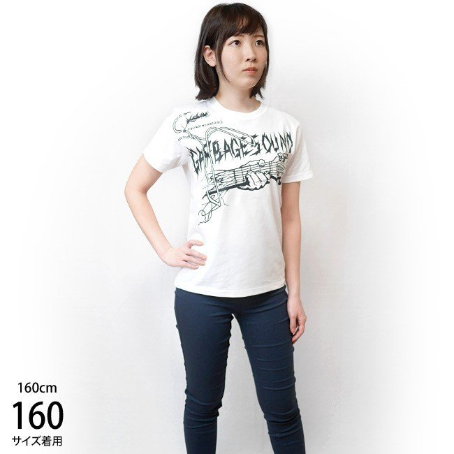 GARBAGE SOUND (ガベージサウンド) Tシャツ (ホワイト)-G- 半袖 白色 ギター柄 ROCK パンクロックTシャツ バンドTシャツ|bambi|03