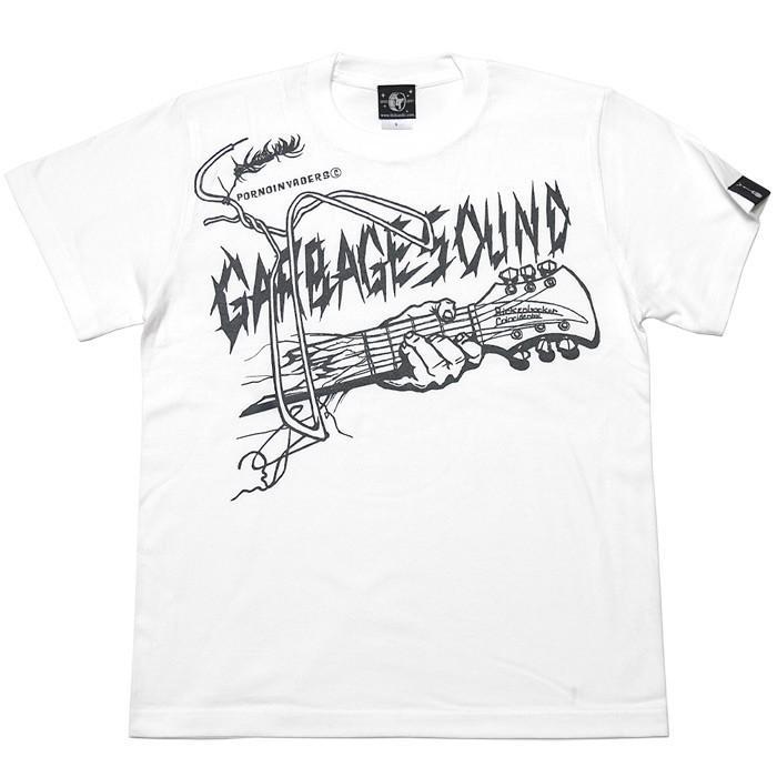 GARBAGE SOUND (ガベージサウンド) Tシャツ (ホワイト)-G- 半袖 白色 ギター柄 ROCK パンクロックTシャツ バンドTシャツ|bambi|06