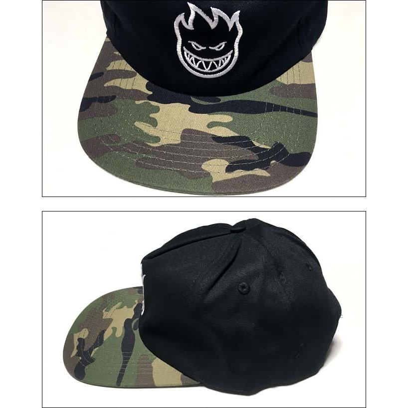 スピットファイア BIGHEAD ANST キャップ (ブラック×迷彩)- SPITFIRE -G- CAP スナップバック 帽子 黒×カモフラージュ 刺繍ロゴマーク|bambi|02