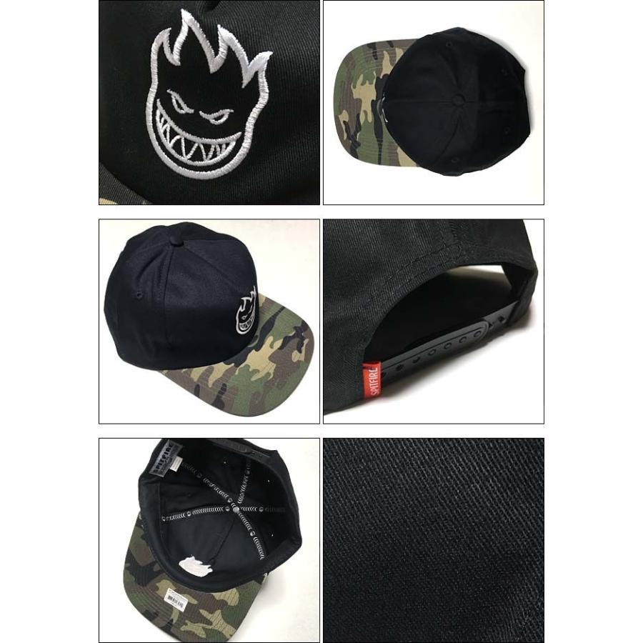 スピットファイア BIGHEAD ANST キャップ (ブラック×迷彩)- SPITFIRE -G- CAP スナップバック 帽子 黒×カモフラージュ 刺繍ロゴマーク|bambi|03
