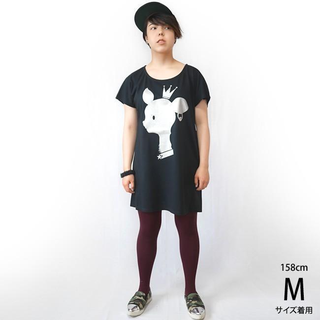 王冠バンビ Tシャツワンピース -G- ワンピTシャツ ばんび 子鹿 bambi キャラ ロゴTee バックプリント 半袖 bambi 02