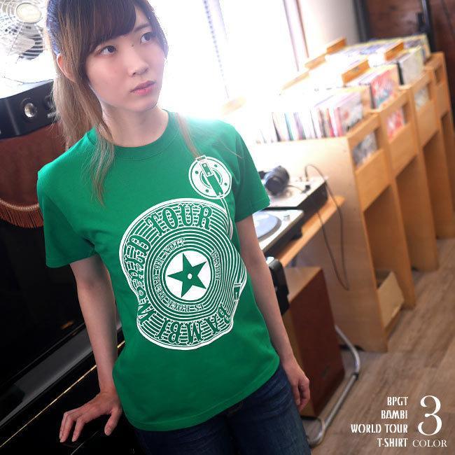 ロックTシャツ / Bambi World Tour Tシャツ (グリーン)-F- 半袖 緑色 ロックンロール バンドTシャツ ライブ フェス 音楽 バックプリント|bambi|02