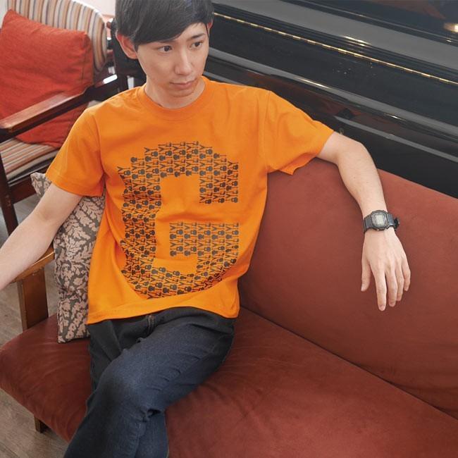 ギターのG Tシャツ (オレンジ) -G- ロックTシャツ バンドTシャツ ロゴT ギター柄 カジュアル おしゃれ 半袖 bambi