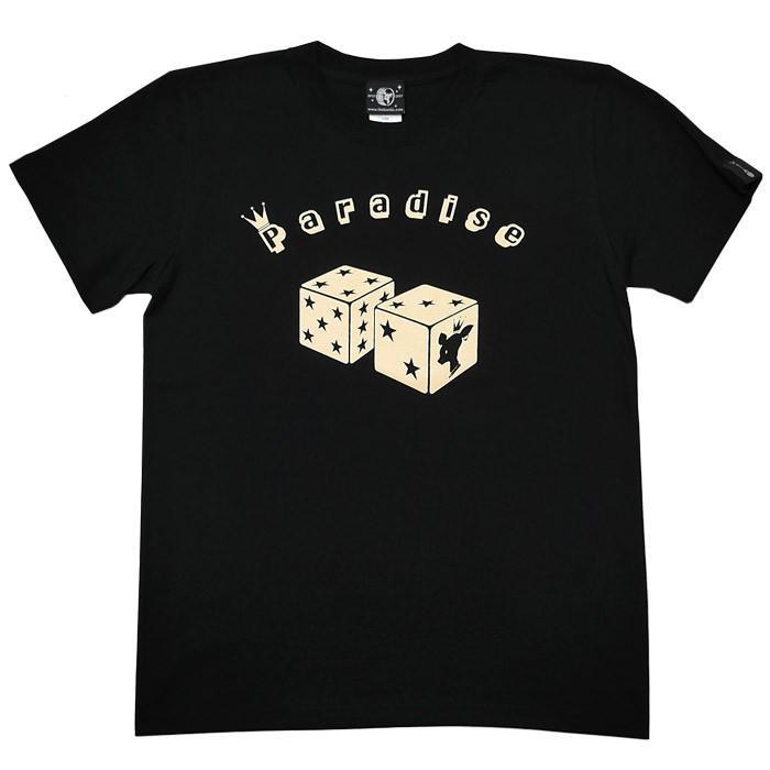 Paradise (パラダイス) Tシャツ (ブラック)-F- 半袖 黒色 サイコロ 賽子 かわいい 可愛い ロゴTee アメカジ カジュアル 大きいサイズ|bambi|07
