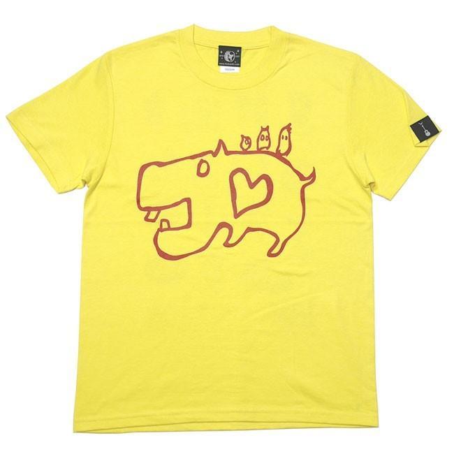 カバ Tシャツ (イエロー) -G- 半袖 黄色 かば 河馬 アニマルイラスト かわいい カジュアル コットン綿100% bambi 04
