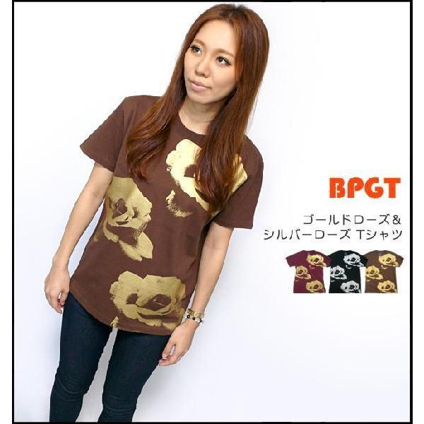 ゴールドローズ & シルバーローズ Tシャツ -G- フラワー バラ 薔薇 プリントTシャツ かわいい 半袖 bambi 03