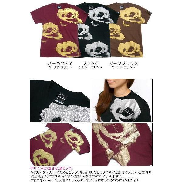 ゴールドローズ & シルバーローズ Tシャツ -G- フラワー バラ 薔薇 プリントTシャツ かわいい 半袖 bambi 05