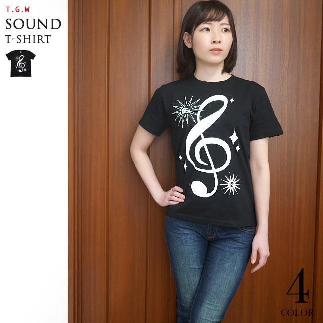 サウンド Tシャツ (ブラック) -G- 半袖 黒色 ト音記号 楽譜 音楽 ミュージック アメカジ カジュアル グラフィックデザイン bambi 02