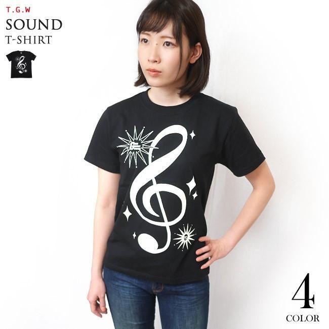 サウンド Tシャツ (ブラック) -G- 半袖 黒色 ト音記号 楽譜 音楽 ミュージック アメカジ カジュアル グラフィックデザイン bambi 03