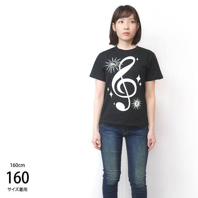 サウンド Tシャツ (ブラック) -G- 半袖 黒色 ト音記号 楽譜 音楽 ミュージック アメカジ カジュアル グラフィックデザイン bambi 04