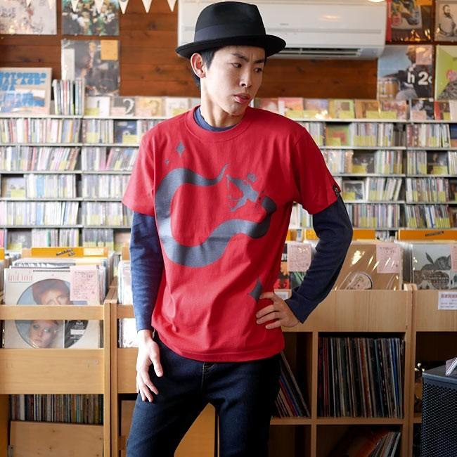 ロックTシャツ / ロイヤルスネイク Tシャツ (レッド )-G- 半袖 赤 ヘビ 蛇柄 ロックTシャツ ライブ アメカジ|bambi