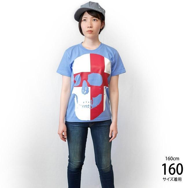 セント ジョージ クロス スカル Tシャツ (サックス) -F- 半袖 パンクロックTシャツ ドクロ イングランド 十字旗 水色 PUNKROCKER|bambi|03