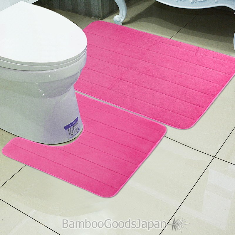 全8色 トイレ用マット2点セット トイレマット+バスマット 便座パッド メモリフォーム 滑り止めフロアマット 吸収性 浴室 トイレ用マットセット 敷物|bamboogoodsjapan|04