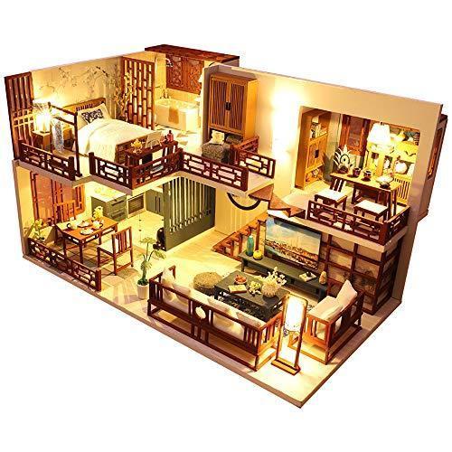 CuteBee DIY木製ドールハウス、QUIET TIME 、ミニチュアコレクション、LEDライト、オルゴール、プレゼント、電池AAA*2|banana-store2