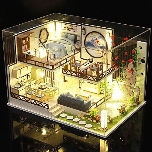 CuteBee DIY木製ドールハウス 、バンブーチャーム、中華風、ミニチュアコレクション、プレゼント、防塵カバー付|banana-store2|07