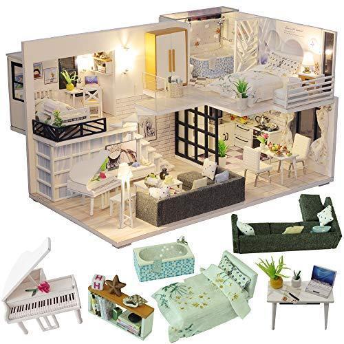 CuteBee DIY木製ドールハウス、Happy Time、手作りキットセット、ミニチュアコレクション、LEDライト(電池AAA*2必要)|banana-store2
