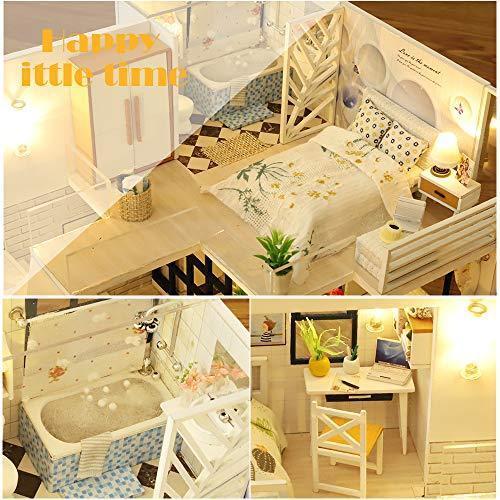CuteBee DIY木製ドールハウス、Happy Time、手作りキットセット、ミニチュアコレクション、LEDライト(電池AAA*2必要)|banana-store2|03