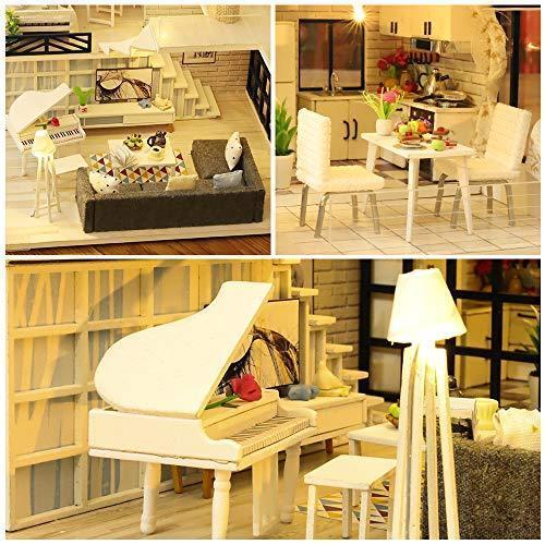 CuteBee DIY木製ドールハウス、Happy Time、手作りキットセット、ミニチュアコレクション、LEDライト(電池AAA*2必要)|banana-store2|04