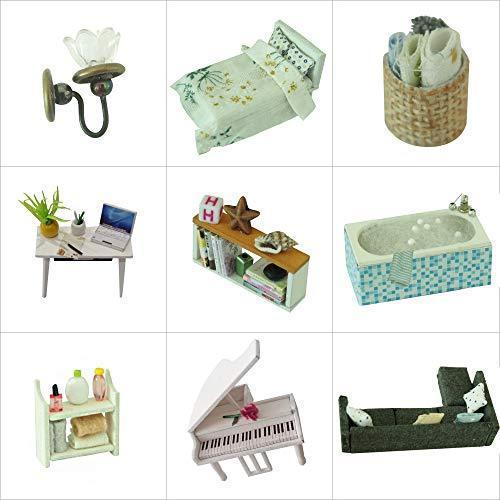 CuteBee DIY木製ドールハウス、Happy Time、手作りキットセット、ミニチュアコレクション、LEDライト(電池AAA*2必要)|banana-store2|05
