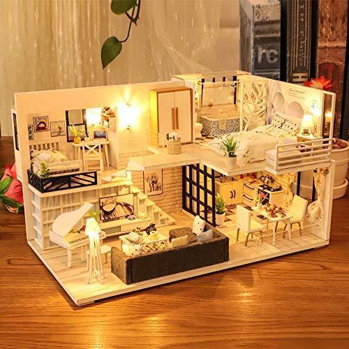 CuteBee DIY木製ドールハウス、Happy Time、手作りキットセット、ミニチュアコレクション、LEDライト(電池AAA*2必要)|banana-store2|07
