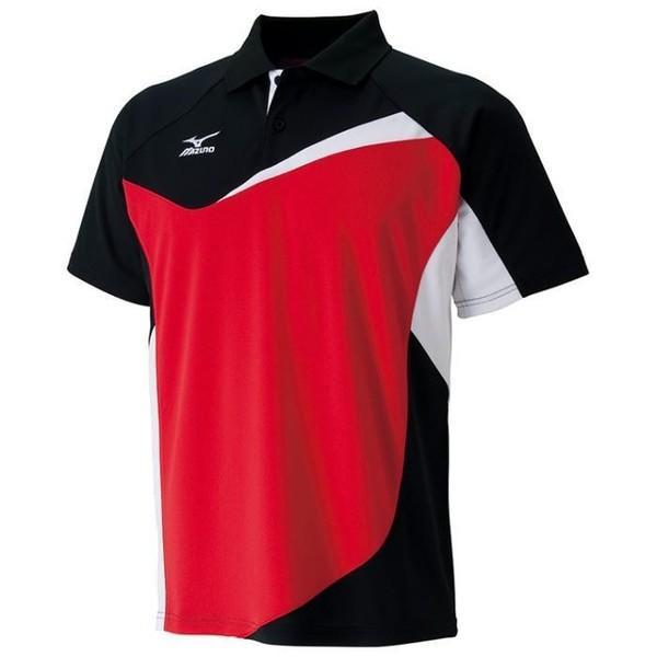 ミズノ (62JA601309) テニス-バドミントンゲームシャツ ブラック/レッド