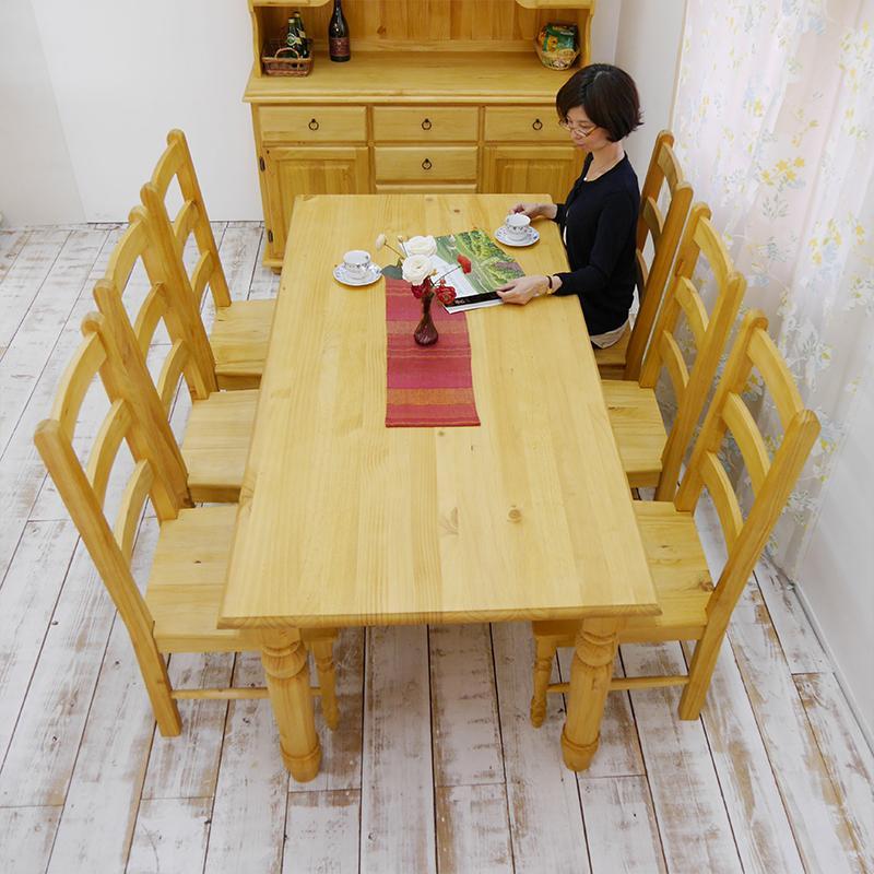 天然木ダイニングテーブル7点セット6人掛け/幅190cmカントリーパインダイニングテーブルgktチェア6脚セット/DT-BA19BJ/無垢木製の6人用パイン材