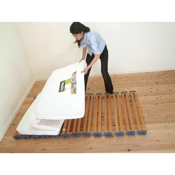 フローリング・畳寝用快眠ベッド巻き取り収納式ロールウッドスプリング・三つ折7cm厚高反発ラテックスマットレスセット/シングルサイズ幅約100cm