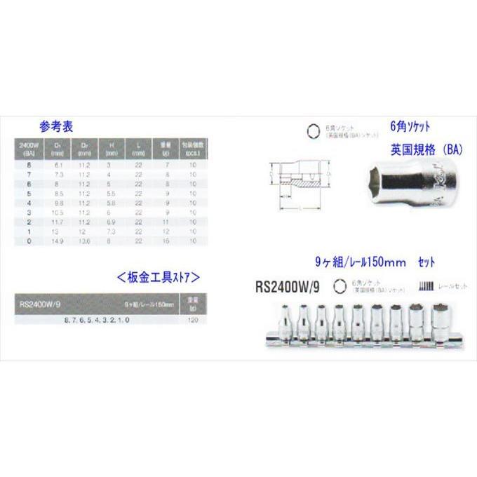 """koken(コーケン)英国規格(BA) RS2400W-9 1/4"""" 6.35mm 6角ソケット ..."""