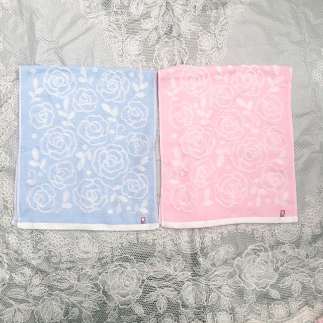今治 ローズ柄フェイスタオル 今治タオル ピンク ブルー 日本製 ギフト 母の日 約34×80cm barazakkawithheart
