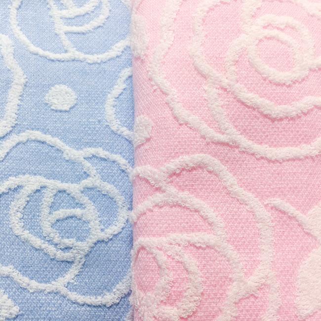 今治 ローズ柄フェイスタオル 今治タオル ピンク ブルー 日本製 ギフト 母の日 約34×80cm barazakkawithheart 06