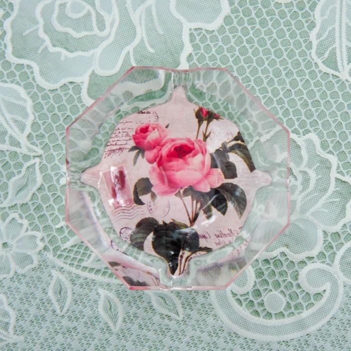 ガラス灰皿 ローズ 薔薇 小ぶり 小さい おしゃれ  かわいい ローズ切手 エッフェル|barazakkawithheart|05