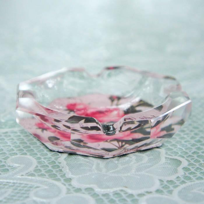 ガラス灰皿 ローズ 薔薇 小ぶり 小さい おしゃれ  かわいい ローズ切手 エッフェル|barazakkawithheart|02