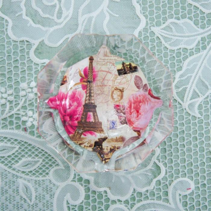 ガラス灰皿 ローズ 薔薇 小ぶり 小さい おしゃれ  かわいい ローズ切手 エッフェル|barazakkawithheart|06