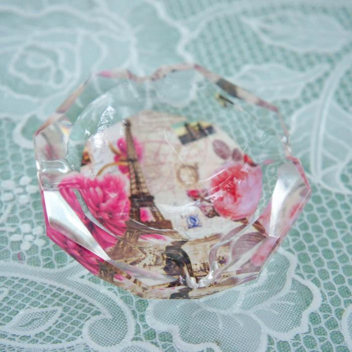 ガラス灰皿 ローズ 薔薇 小ぶり 小さい おしゃれ  かわいい ローズ切手 エッフェル|barazakkawithheart|04