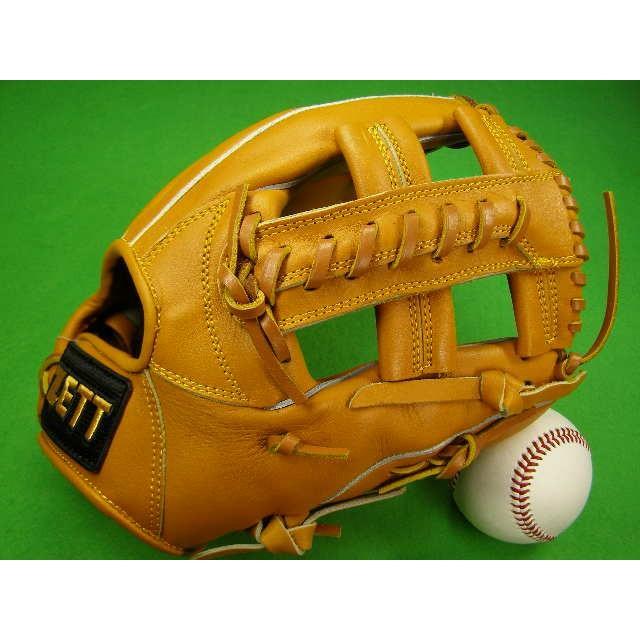 型付け無料 ゼット ZETT 海外モデル 硬式用 内野用 タン クロスウェブ PRO MODEL GOLD LINE QOALITY 高校野球対応カラー 硬式 グローブ