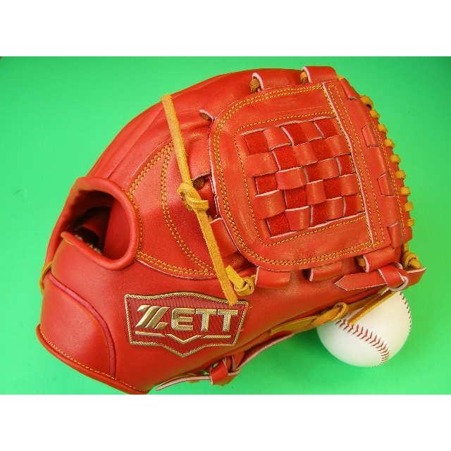 型付け無料 ゼット ZETT 海外モデル 硬式用 内野用 オレンジ×タンヒモ 高校野球対応カラー GOLD LINE QOALITY 硬式 内野 グローブ