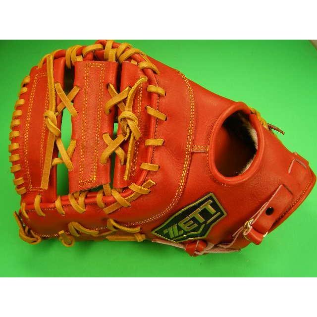 型付け無料 ゼット ZETT 硬式用 左投げ用 ファーストミット オレンジ×タンヒモ 高校野球対応カラー 硬式 ファースト ミット