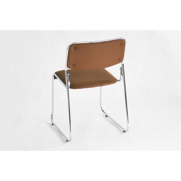 パイプ椅子 ミーティングチェア 会議イス 会議椅子 スタッキング チェア パイプチェア パイプイス 6脚セット ブラウン bauhaus1 02
