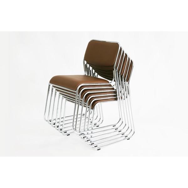 パイプ椅子 ミーティングチェア 会議イス 会議椅子 スタッキング チェア パイプチェア パイプイス 6脚セット ブラウン bauhaus1 03