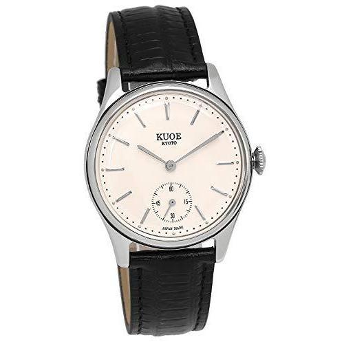 [クオ]KUOE 日本製 国産 腕時計 ウォッチ 京都ブランド クラシック アンティーク バーインデックス リザード型押しレザー ブラック 35mmケ|bayspring