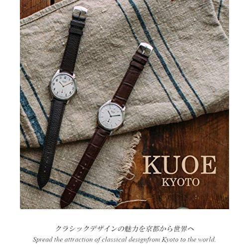 [クオ]KUOE 日本製 国産 腕時計 ウォッチ 京都ブランド クラシック アンティーク バーインデックス リザード型押しレザー ブラック 35mmケ|bayspring|02