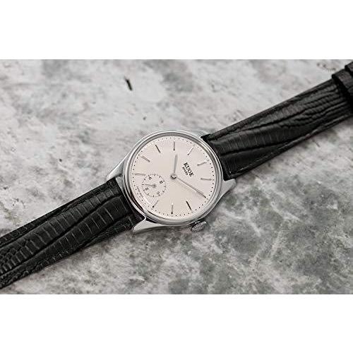 [クオ]KUOE 日本製 国産 腕時計 ウォッチ 京都ブランド クラシック アンティーク バーインデックス リザード型押しレザー ブラック 35mmケ|bayspring|04