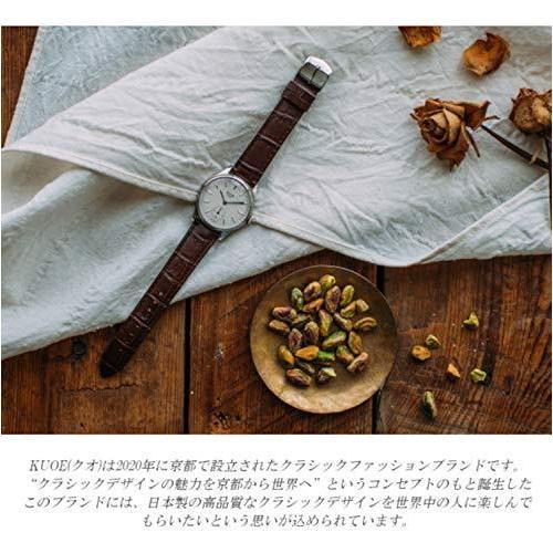 [クオ]KUOE 日本製 国産 腕時計 ウォッチ 京都ブランド クラシック アンティーク バーインデックス リザード型押しレザー ブラック 35mmケ|bayspring|06